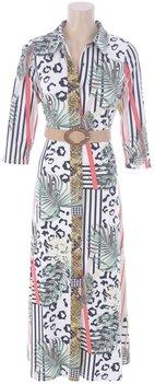 K Design Maxi jurk met verschillende prints en riem