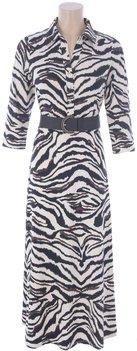 K Design Maxi jurk met zebra print en riem