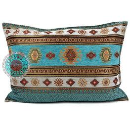 Esperanza Deseo kussenhoes Aztec turquoise ± 50x70cm