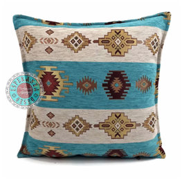 Esperanza Deseo kussenhoes Aztec white stripes turquoise ± 45x45cm