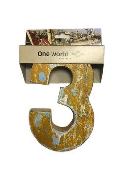 One World Interiors Houten Cijfer 3