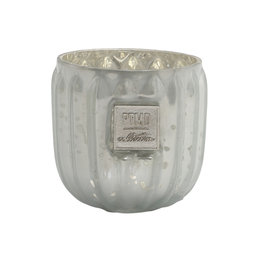 PTMD Caith white Glass tealight round ribbed
