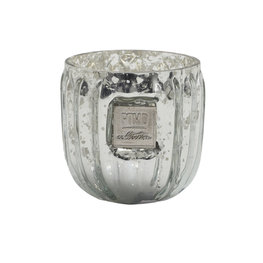 PTMD Caith silver Glass tealight round ribbed