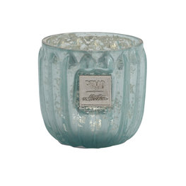 PTMD Caith turquoise Glass tealight round ribbed