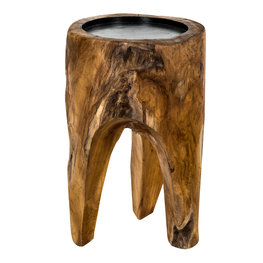 PTMD teak wood natural bowl on legs for candle L