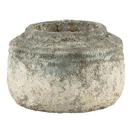 PTMD Cai old blue ceramic pot round border low M