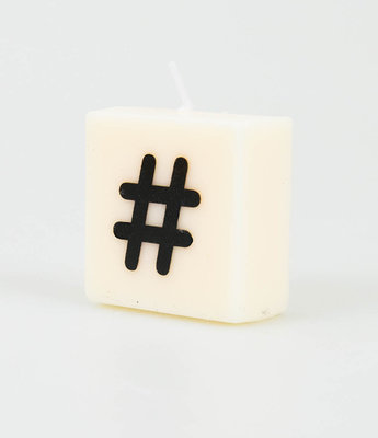 Letter Kaarsje Hashtag