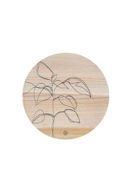Zusss wandbordje hout plant 20cm