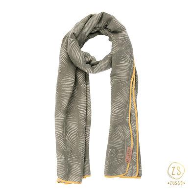 Zusss sjaal met bladprint leemgroen