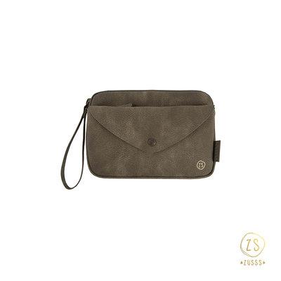 Zusss handige portemonnee-clutch donkergroen