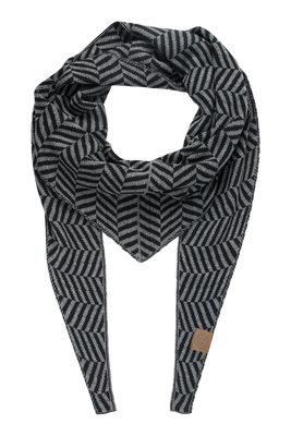 Zusss puntsjaal visgraat grijs/zwart