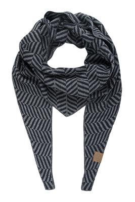 Zusss puntsjaal visgraat grijs/nachtblauw
