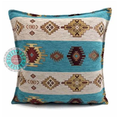Esperanza Deseo Aztec white stripes turquoise kussen ± 45x45cm