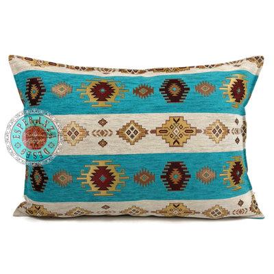 Esperanza Deseo Aztec white stripes turquoise kussen ± 50x70cm