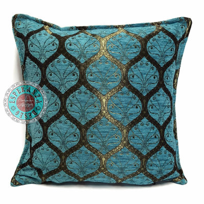 Esperanza Deseo Honingraat turquoise kussen ± 45x45cm