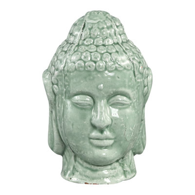 PTMD Budhi green ceramic buddha head statue S