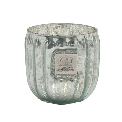 PTMD Caith green Glass tealight round ribbed