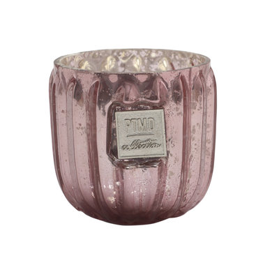 PTMD Caith pink Glass tealight round ribbed