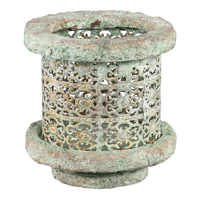 PTMD Tosca grey Antique Cement metal lantern round M