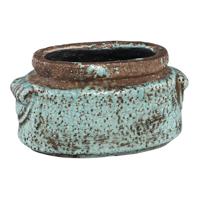 PTMD Martt blue ceramic pot small border ovale S