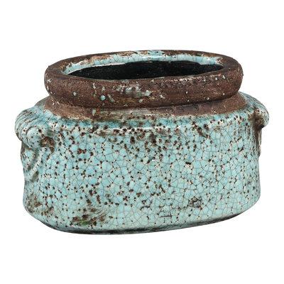 PTMD Martt blue ceramic pot small border ovale M