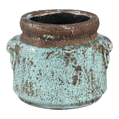 PTMD Martt blue ceramic pot small border round L