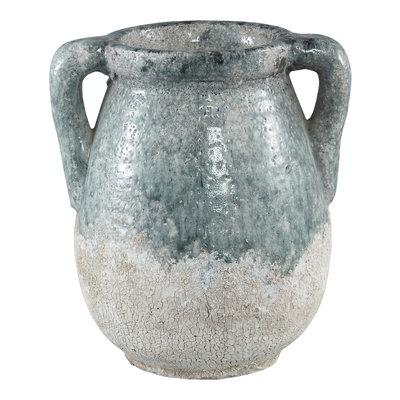 PTMD Zara blue ceramic pot with ears L