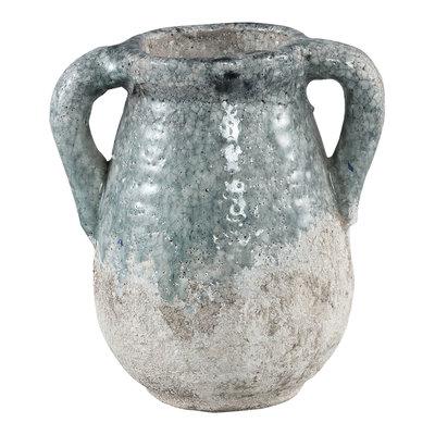 PTMD Zara blue ceramic pot with ears S