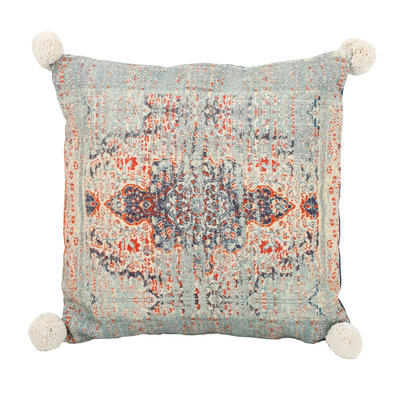 PTMD Indian print pillow square blue cotton