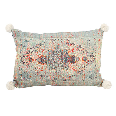 PTMD Indian print pillow rectangle blue cotton