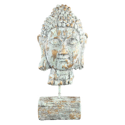 PTMD Buddy green/gold buddha head statue S