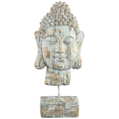 PTMD Buddy green/gold buddha head statue L