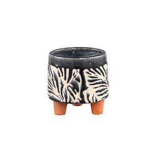 PTMD Mali Black Keramiek Pot op poten L