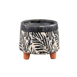 PTMD Mali Black Keramiek Pot op poten M